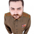 Young man dressed as russian military — Stock Photo