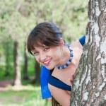 Beautiful woman on nature near a birch — Stock Photo #13901858