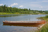 Wooden boat on the riverside, Perm edge, Russia — Stock Photo