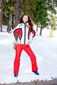 Frau in einem sportlichen Anzug in-Feld — Stockfoto