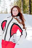 スポーツのスーツの分野での女性 — ストック写真