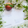 Beautiful designer background with the sprigs of flowering apple — Stock Photo #14280161