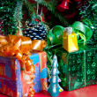 Christmas still life on red background — Stok Fotoğraf #16247941