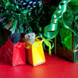 Photo: Christmas still life on red background