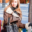 Beautiful woman  in a winter park - Stock Photo