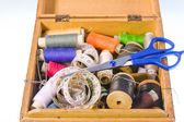 Small box with sewing belonging — Stock Photo
