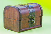 Decorative small box on a light green background — Stok fotoğraf