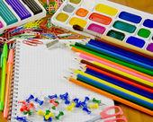 Bright school belonging, office commodities — Stock Photo