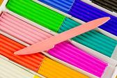 Escuela perteneciente, plastilina brillante — Foto de Stock