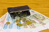 Purse and Russian money — Stock Photo
