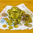 A souvenir is a frog and Russian money — Stock Photo #18727833