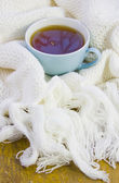 Cup with tea on the knitted woolen — Stock Photo