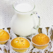 Sweet vanilla domestic cakes and carafe with milk — 图库照片