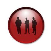 在男性轮廓上白色的表现力上明亮红色按钮 — 图库照片