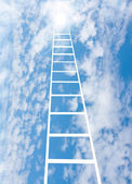 Stair upwards in sky to a sun, collage — Stock Photo