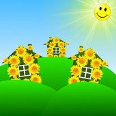 3 つの緑の芝生の上の黄色のヒマワリが付いている家で明るい — ストック写真