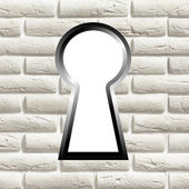 Keyhole on a brick wall — Stock Photo