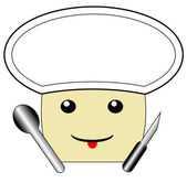 The drawn cook is in a white cap — Stock Photo