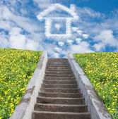 Stair to sky and house from clouds, collage — Foto de Stock