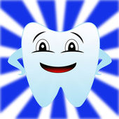 A merry tooth on a white-blue background — Stock Photo