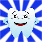 Un diente feliz sobre un fondo blanco-azul — Foto de Stock