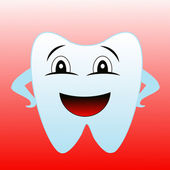 A merry tooth on a red background — Foto Stock