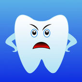 An angry tooth on a blue background — Zdjęcie stockowe