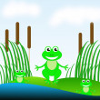 Three amusing green frogs  on a green grass in a pond — Stock Photo