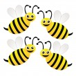Stock Photo: Four amusing drawn bees on a white background