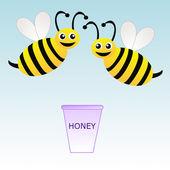 Dois divertidos desenhadas balde com mel e abelhas em um background azul — Fotografia Stock