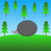 Nakresleného ježka na zeleném trávníku — Stock fotografie