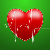 Red bright heart and cardiogram — Stock Photo