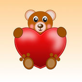 Drawn bear and red bright heart — Stock Photo