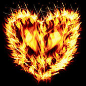 Fiery heart on a black background — Stock Photo