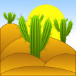 Drawn green cactuses in the desert - Stock Photo