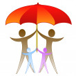 The picture of family under a large red umbrella — Stock Photo