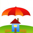 Picture with a house on a green lawn and large umbrella — Stock Photo #24870659
