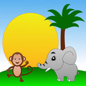Fairy-tale personages elephant and monkey on a green lawn — Stock Photo