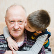 Grand-dad with a grandchild play — Foto Stock