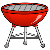 Barbecue of red color on a white background — Stock Photo