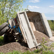 Stock Photo: Truck with load fell down