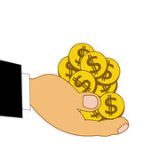 Chinks dollars on a hand, illustration — Stock Photo