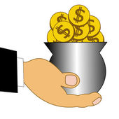 Chinks dollars in a metallic pot on a hand — Stock Photo