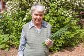 Elderly woman with spring onions — Stock Photo