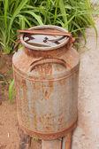 An old metallic ferruginous flask — Stock Photo