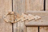 Hinge on an old wooden door — Stock Photo