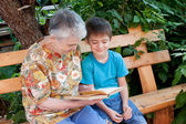A great-grandmother reads a book to the great-grandchild — Stock Photo