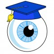 A human eye is in an university hat — Stock Photo