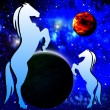 Silhouettes of two horse on a background a star galaxy — Stock Photo