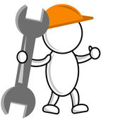 Getekende man bouwer in een helm en met een sleutel in handen — Stockfoto